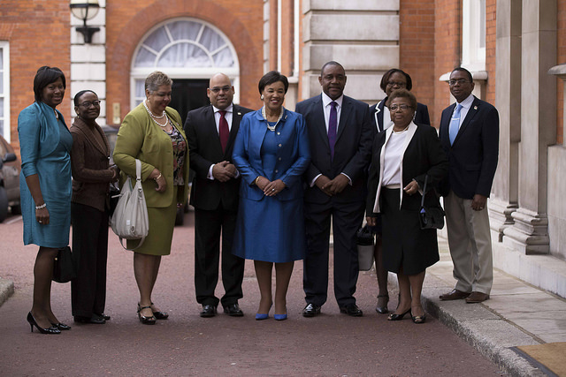 Secretary-General Rt Hon Patricia Scotland QC, flanked by a contingent of Caribbean high commissioners