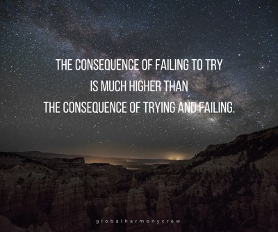 The consequence of failing to try is much higher than the consequence of trying and failing