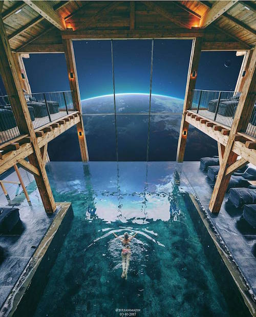 Digital artwork by Julian Majin. A woman swimming in an indoor pool with a view of space and a planet.