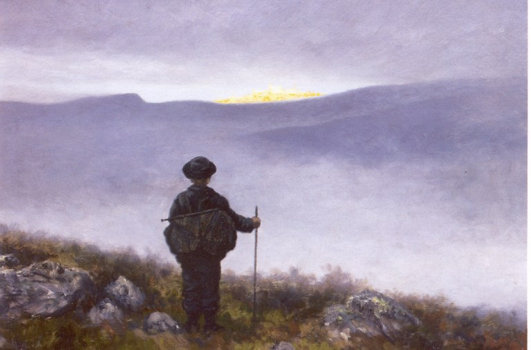 A Painting by Theodor Kittelsen called Soria Moria. A wanderer with a walking stick is looking towards Soria Moria in the horizon.