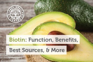A slice of an organic avocado. Biotin is a water-soluble B vitamin required by every cell in the body.