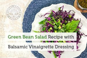 A bowl of green bean salad. This tasty recipe is packed with nutrients and only has 151 calories per serving.