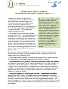Gobernanza de paisajes fronterizos: Perspectivas desde el Global Landscapes Forum 2014