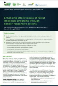 Enhancing effectiveness of forest landscape programs through gender-responsive actions