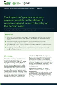 The impacts of gender-conscious payment models on the status of women engaged in micro-forestry on the Kenyan coast