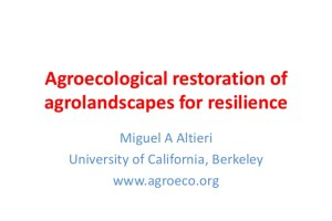 Agroecological restoration of agrolandscapes for resilience