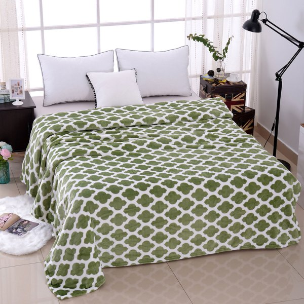 Super Soft Microfiber Blanket - Green Pattern
