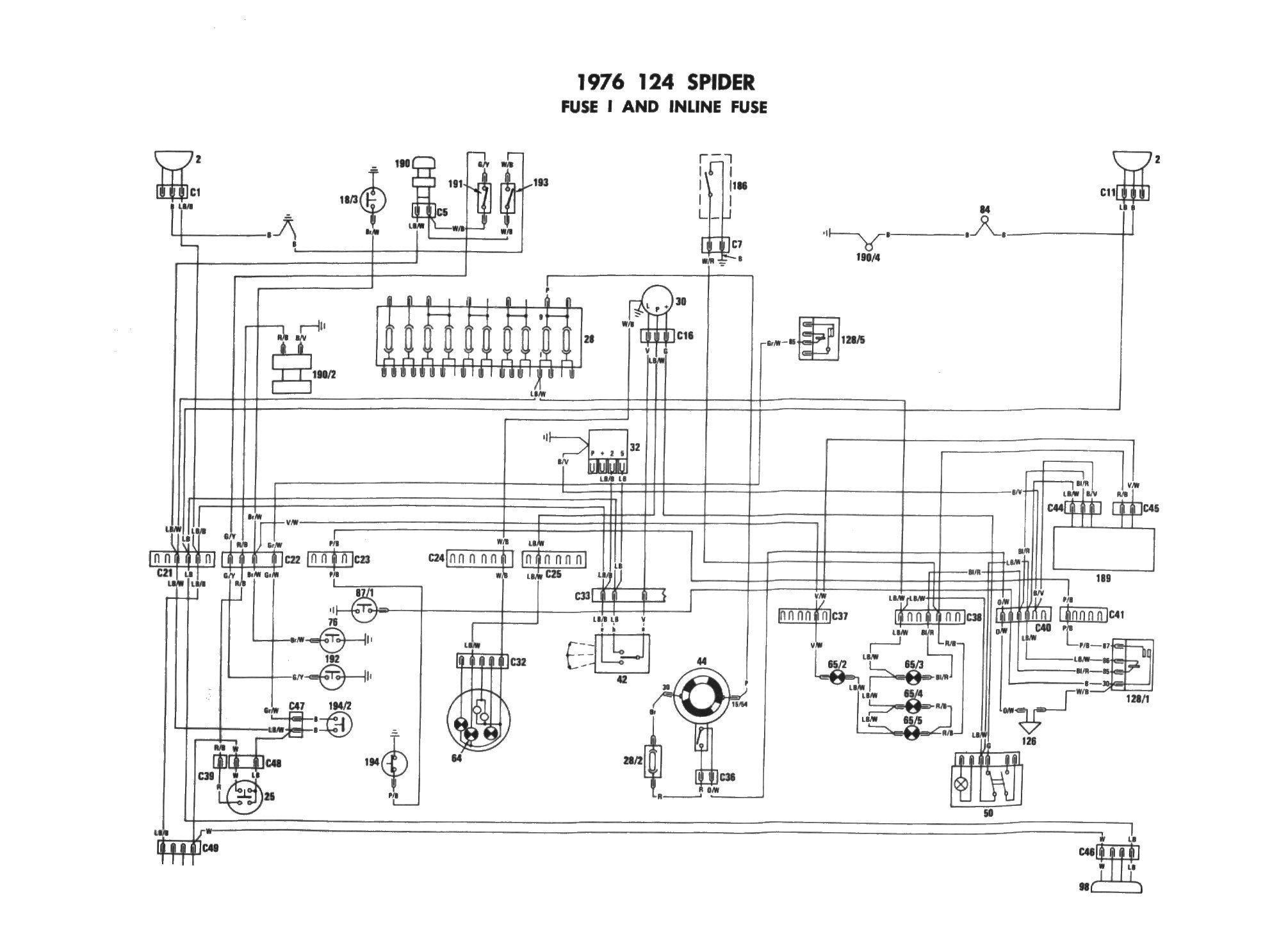 Fiat 124 Spider 1977 Fuse Box Diagram 1975 Fiat 124 Spider