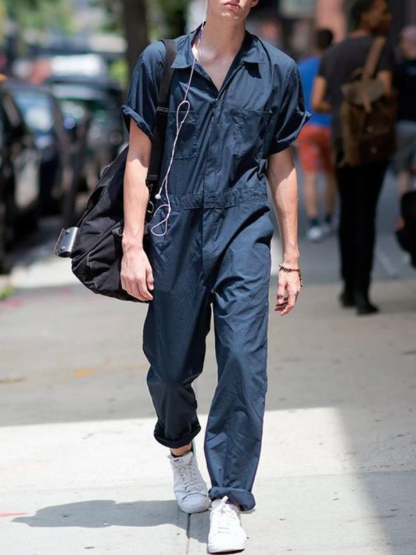 Turn Down Collar Single Breasted Plain Cargo Shirt Jumpsuit