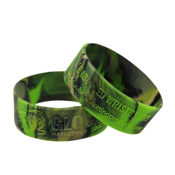 """Embossed Silicone Wristbands - 1"""""""