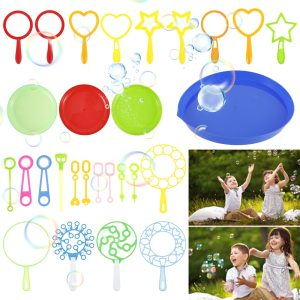 28PCS Water Bubble Blowing Toys Outdoor Fun Soap Water Blowing Bubble Soap Bubble Wand Set Stick Tray Kids Interactive Toys Kits
