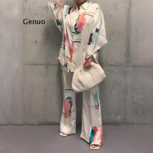 African Women Printing Two Pieces Sets Top Pant African Women Suit