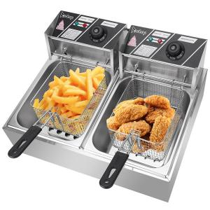 Electric Deep Fryers Easy Cook Home Appliances Kitchen Cooking 12.7QT/12L Stainless Steel Double Cylinder Electric Fryer 5000W