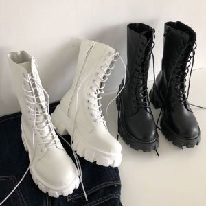Mid Calf Boots Women Autumn Winter Fashion Lace-up