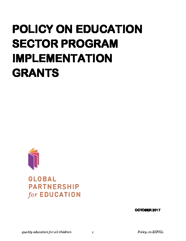 Policy on education sector program implementation grants