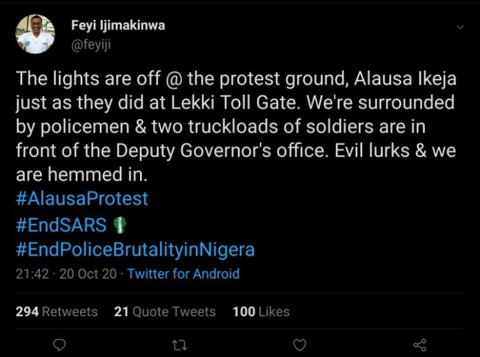 Alausa Protest Ground Reportedly Surrounded By Security Agents And Lights Turned Off