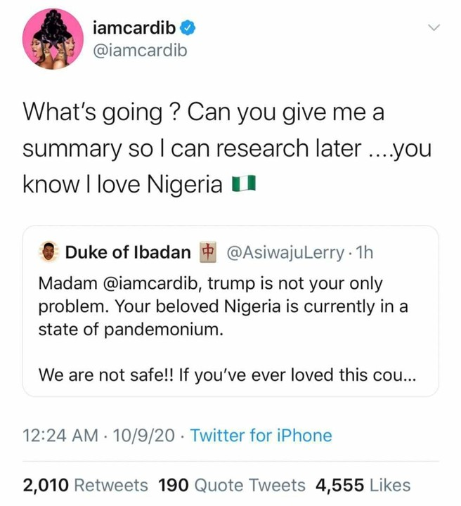 American Female Artiste Cardi B Asking Questions About #ENDSARS Protest in Nigeria