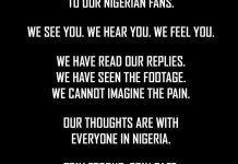 Arsenal football club sends condolence message to Nigerian fans over shooting of EndSARS protesters at Lekki toll gate by soldiers