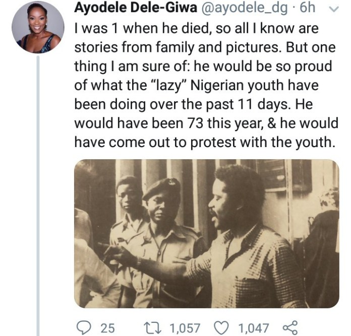 Dele Giwa's Daughter Ayodele Dele Giwa Reveals How Her Father Would Have Felt About The End SARS Protests If He Were Alive