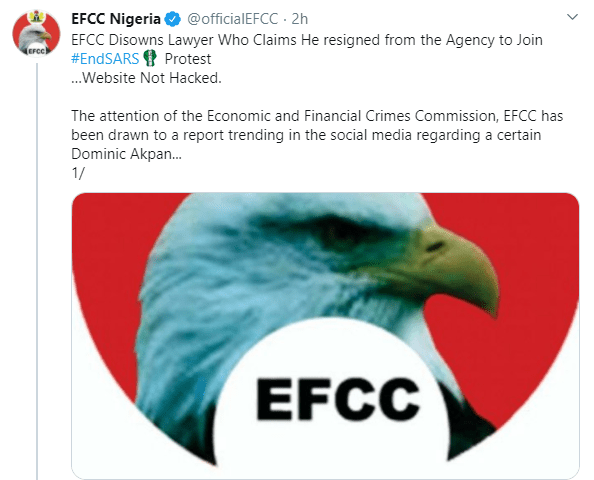 EFCC confirms attempts to breach its website over the weekend and disowns lawyer who allegedly resigned from the agency to join the #EndSARS protest