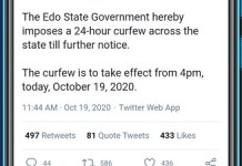 Edo State Government Declares 24-Hour Curfew