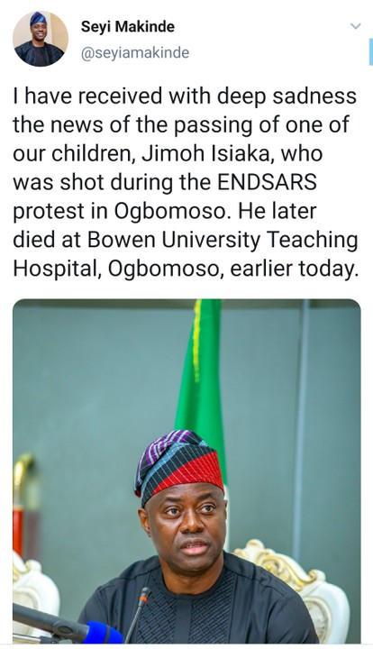 EndSARS Protester Jimoh Isiaka Who Was Shot During EndSARS Protest Dies At BUTH