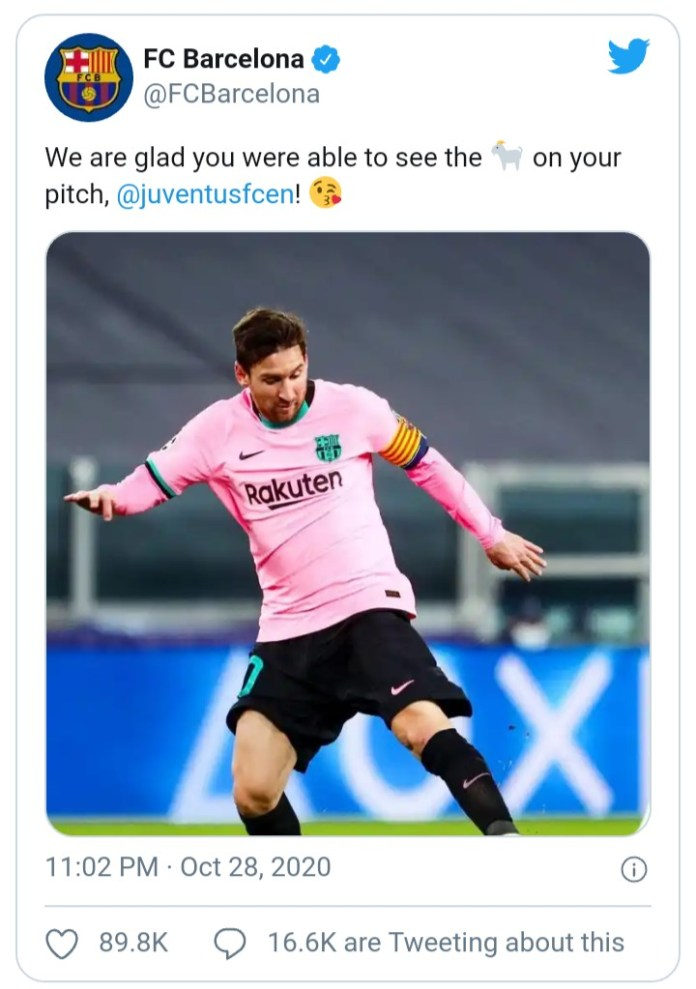 Fc Barcelona Troll Juventus Fc With This Photo Of Messi After Scoring Them