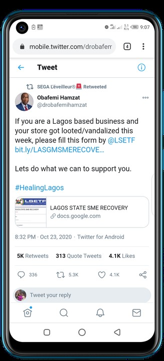 Lagos State Government Provides Forms To Fill To Assist Owners Of Looted Shops