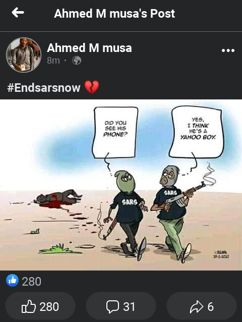 Nigeria Striker Ahmed Musa Joins Endsarsnow Protest Through His Facebook Page