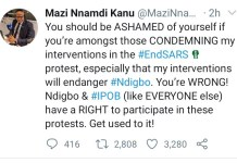 Nnamdi Kanu Flames-You should be ashamed of yourself if you're amongst those condemning my interventions in the protest