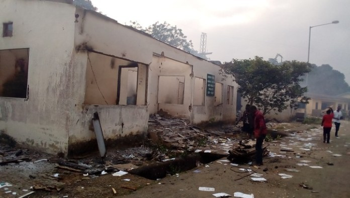 Photos Of Cross River State Ministry Of Works Burnt Down