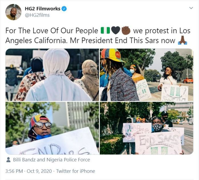 Photos Of EndSARS Prostest In Los Angeles California