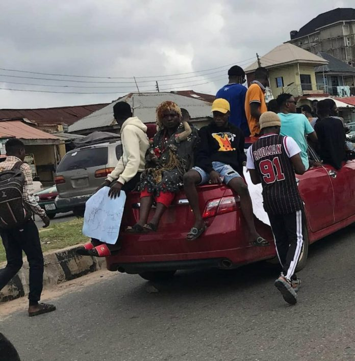 Photos Of EndSARS Protesters Storming Abeokuta With Charms