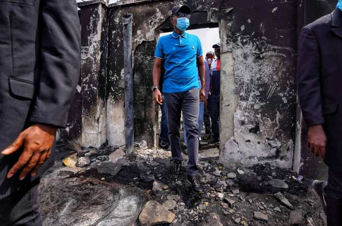 Photos Of First Bank Massive Destruction In Lagos