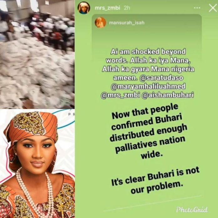President Buhari's Daughter Zahra Buhari Shares Mansurah Isah's Post Saying Buhari Is Not Nigeria's Problem