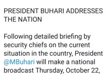 President Mohammadu Buhari To Address Nigerians At 7pm