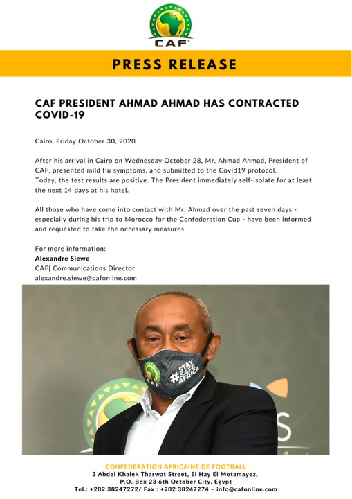 President of CAF Ahmad Ahmad Tests Positive For COVID-19