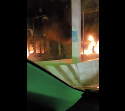 The Popular Lekki Toll On Fire After Secuity Agents Reportedly Kill EndSARS Protesters
