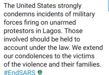 The United States Of America Strongly Condemns The Lekki Killings By Soldiers
