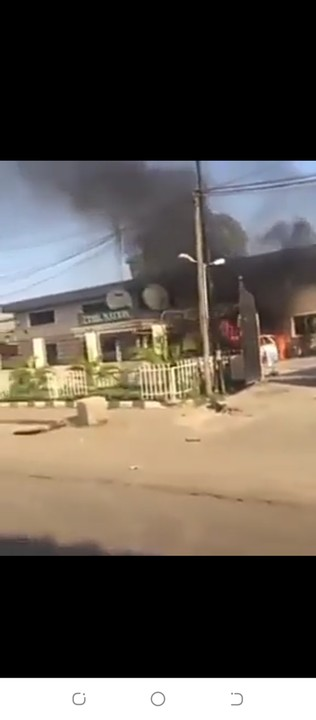 The Video Of The Nation Newspaper Headquarters In Lagos On Fire