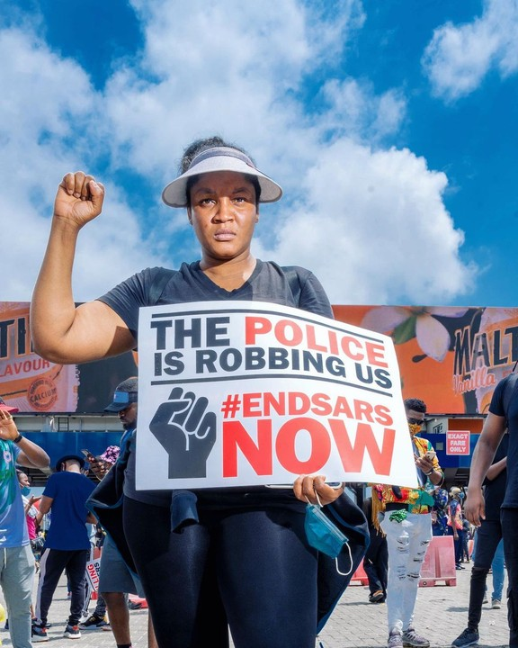 The popular Nollywood actress Omotola Jalade Ekeinde And Family Join #EndSARS Protest