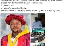 Truck Smashes University of Mkar lecturer Moses Tarnongo And His Family To Death In A Ghastly Accident In Benue State