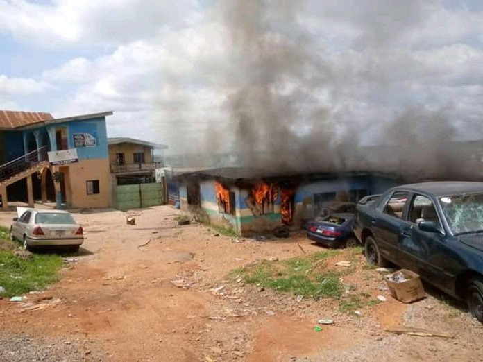 Video Of Alakara Police Station Set Ablaze In Lagos