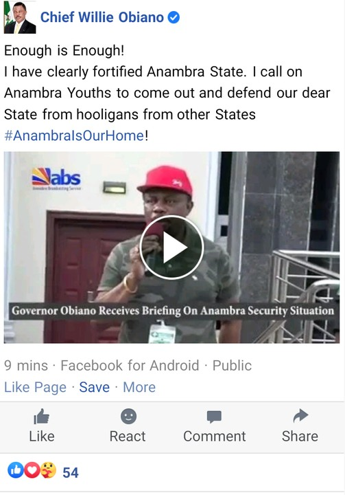 Video Of Anambra State Governor Obiano Urging Youths To Defend Anambra From Hooligans
