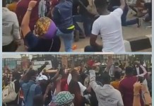 Video Of EndSARS Protesters Kneeling At Lagos House Of Assembly And Singing The National Anthem