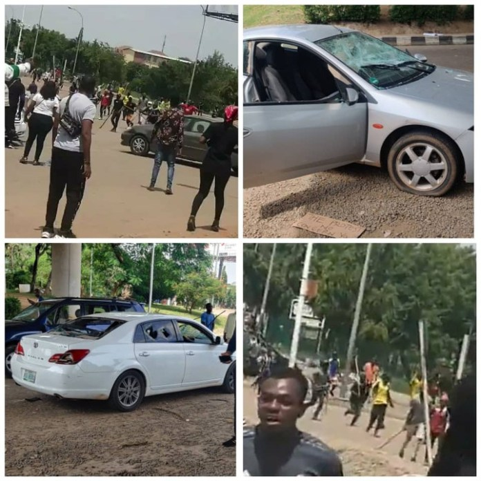 Video Of Hoodlums Attacking EndSars Protesters In Abuja