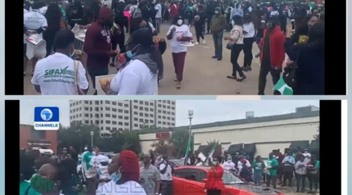 Video Of Nigerians In Houston Calling For End To Police Brutality And Bad Governance