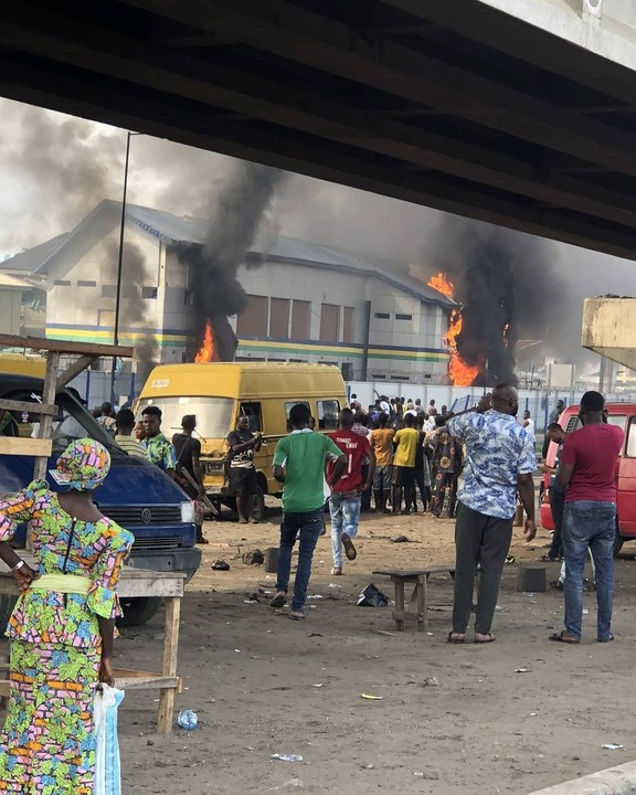 Video Of Police Station Set On Fire In Orile, Lagos
