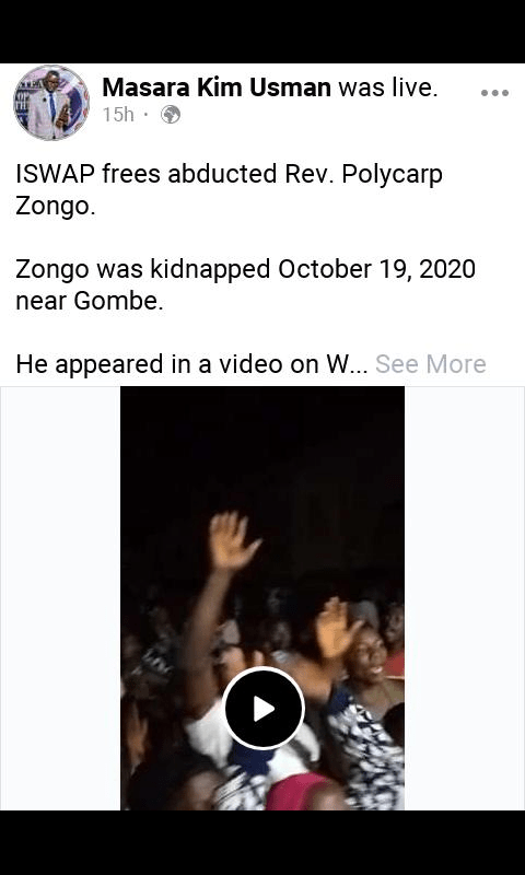 Video Of jos Pastor Polycarp Zongo Congregation Rejoicing Over His Release From Boko Haram Camp