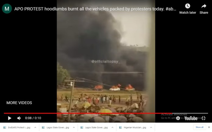 endsars protesters cars burnt by hoodlums in abuja